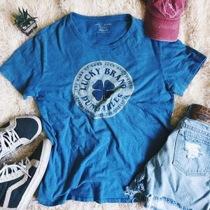 LUCKY BRAND Distressed Graphic Tee